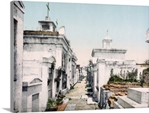 Old Vaults in St. Louis Cemetary New Orleans Louisiana Vintage Photograph