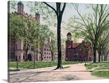 Phelps Hall and Lyceum Yale College Connecticut Vintage Photograph
