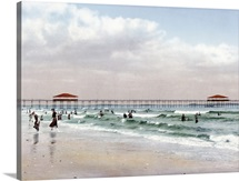 The Beach at Old Orchard Maine Vintage Photograph