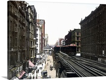 Wabash Avenue North from Adams Street Chicago Illinois Vintage Photograph