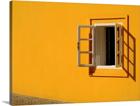yellow wall open window photo canvas print great big canvas