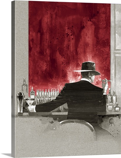 Cigar Bar Red Study Photo Canvas Print Great Big Canvas