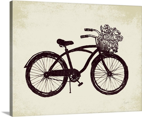 flower basket bike photo canvas print great big canvas. Black Bedroom Furniture Sets. Home Design Ideas
