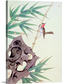 Bamboo and Bird in the Wind