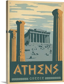Athens, Greece - Retro Travel Poster
