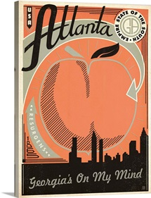 Atlanta, Georgia - Retro Travel Poster