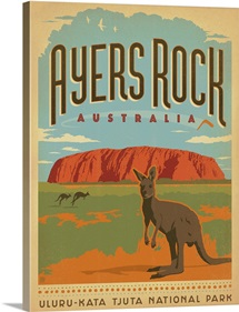 Ayers Rock, Australia - Retro Travel Poster