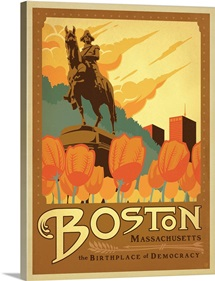 Boston, Massachusetts: The Birthplace of Democracy - Retro Travel Poster
