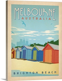 Brighton Beach, Melbourne, Australia - Retro Travel Poster