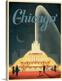 Buckingham Fountain, Chicago, Illinois - Retro Travel Poster