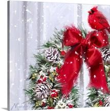 Cardinal On Wreath