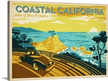 Coastal California: Miles of Shore to Explore - Retro Travel Poster