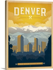 Denver, Colorado: Mile High City - Retro Travel Poster