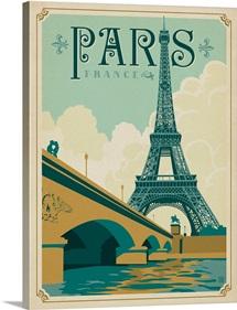 Eiffel Tower, Paris, France - Retro Travel Poster