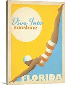 Florida: Dive Into Sunshine - Retro Travel Poster