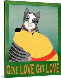 Get Love Give Love Banner Yellow dog and grey cat