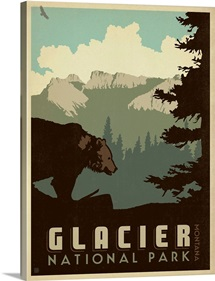 Glacier National Park, Montana - Retro Travel Poster