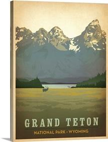 Grand Tetons National Park, Wyoming - Retro Travel Poster