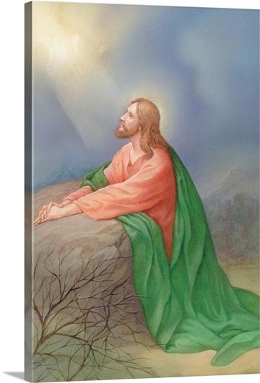 Jesus Kneeling By A Rock Praying Photo Canvas Print