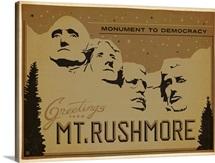 Mount Rushmore: Monument to Democracy - Retro Postcard