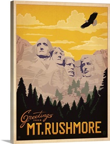 Mount Rushmore National Memorial, South Dakota - Retro Travel Poster