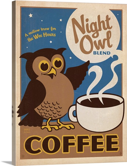 Coffee Posters Retro ~ Night owl blend coffee retro poster photo canvas print
