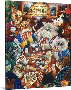 Poker Cats Photo Canvas Print Great Big Canvas