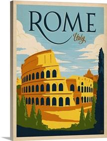 Rome, Italy Retro travel poster