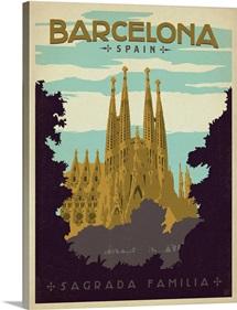 Sagrada Familia, Barcelona, Spain - Retro Travel Poster