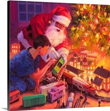 Santa, Boys And Their Trains
