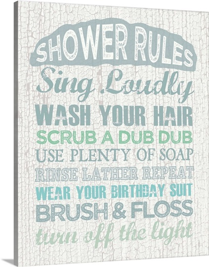 Shower Rules Photo Canvas Print Great Big Canvas