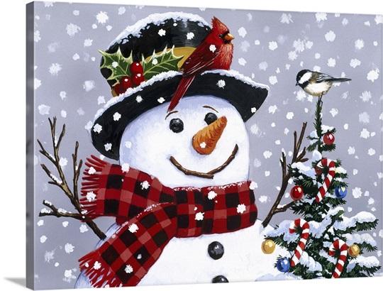 Snowman Photo Canvas Print Great Big Canvas