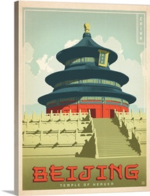 Temple of Heaven, Beijing, China - Retro Travel Poster