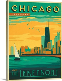 The Lakefront, Chicago, Illinois - Retro Travel Poster