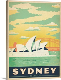The Sydney Opera House, Sydney, Australia - Retro Travel Poster