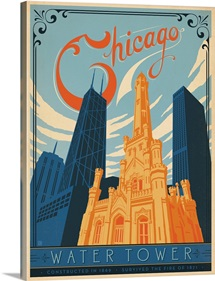 The Water Tower, Chicago, Illinois - Retro Travel Poster