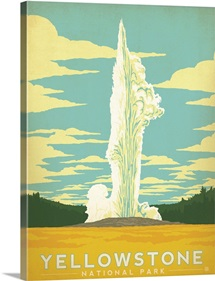 Yellowstone National Park, Wyoming - Retro Travel Poster