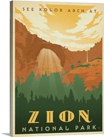 Zion National Park, Utah - Retro Travel Poster