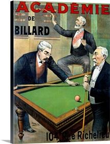 Academie de Billard, Vintage Poster, by A. Gallice