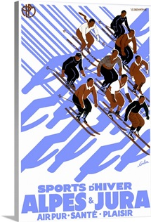 Alpes & Jura, Sports dHiver,Vintage Poster, by Eric De Coulon