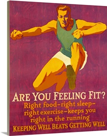 Are you feeling Fit, motivational, Vintage Poster, by Frank Mather Beatty