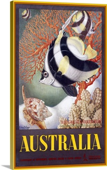 Australia Great Barrier Reef,Vintage Poster, by Eileen Mayo