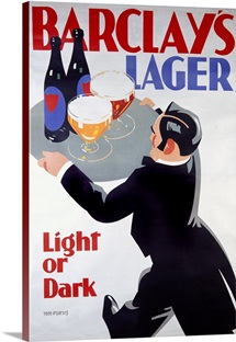 Barclays Lager: Light or Dark,Vintage Poster, by Tom Purvis