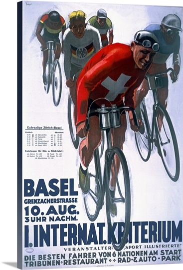 Basel, International Bike Race,Vintage Poster