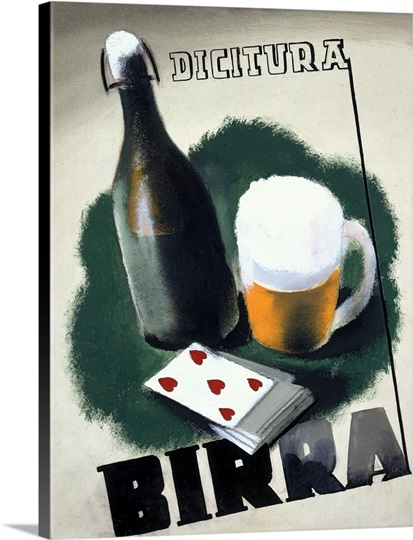 Birra, Dicitura,Vintage Poster