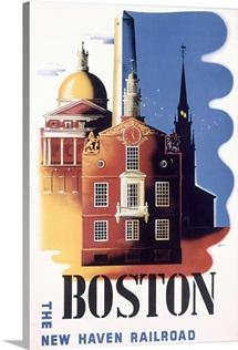 Boston, MA, New Haven Railroad, Vintage Poster, by Ben Nason