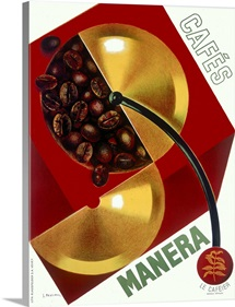 Caf? Manera, Coffee Bean,Vintage Poster