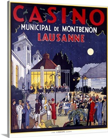 Casino Lausanne, Vintage Poster, by Jacomo