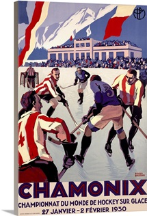 Championnat Du Monde De Hockey, Vintage Poster, by Roger Broders