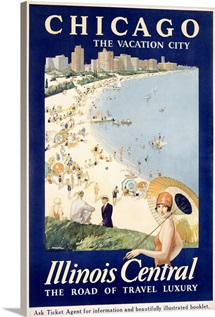 Chicago, The Vacation City, Central Train,Vintage Poster